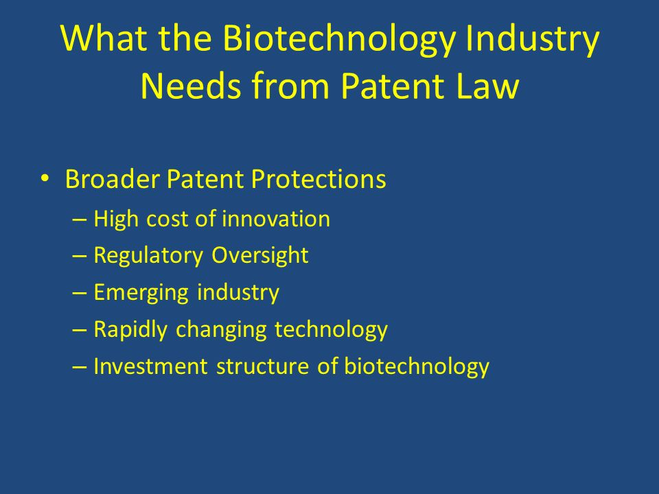What the Biotechnology Industry Needs from Patent Law