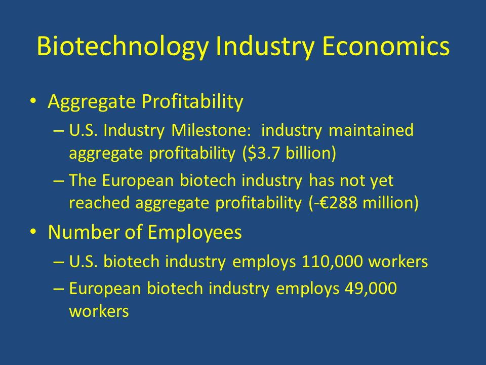 Biotechnology Industry Economics