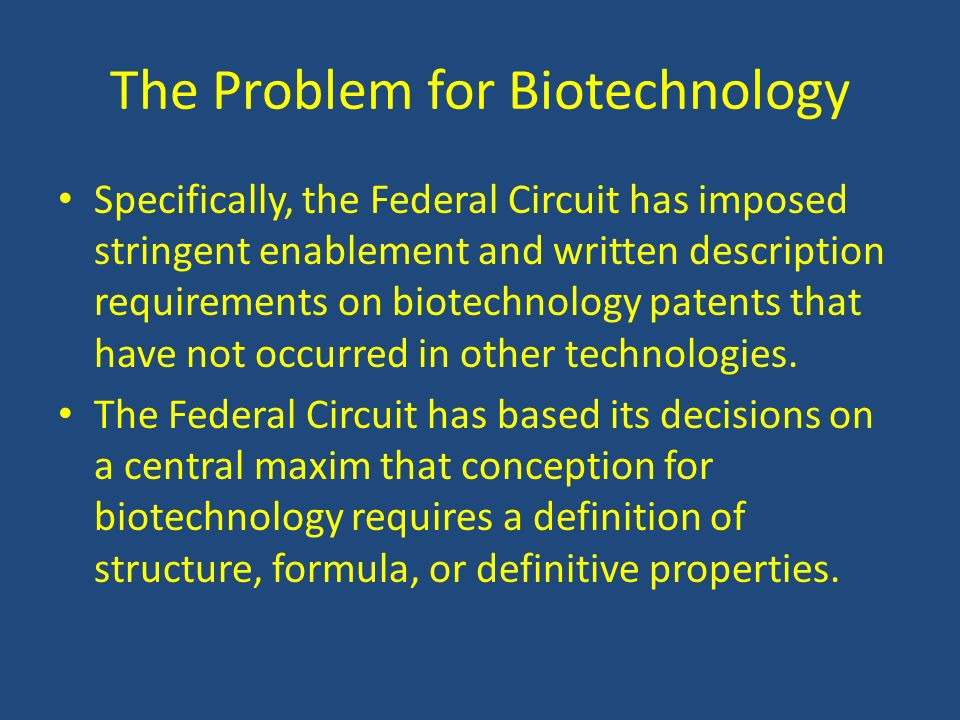 The Problem for Biotechnology