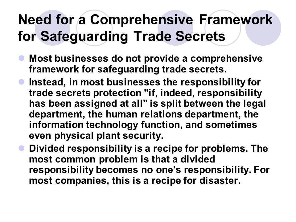 Need for a Comprehensive Framework for Safeguarding Trade Secrets
