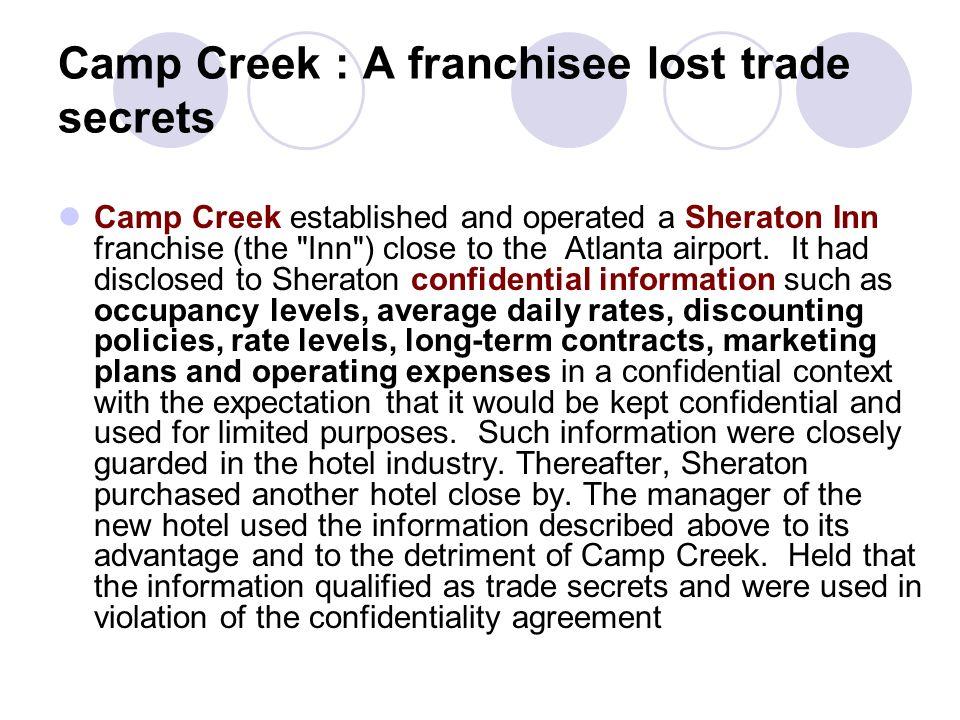 Camp Creek : A franchisee lost trade secrets