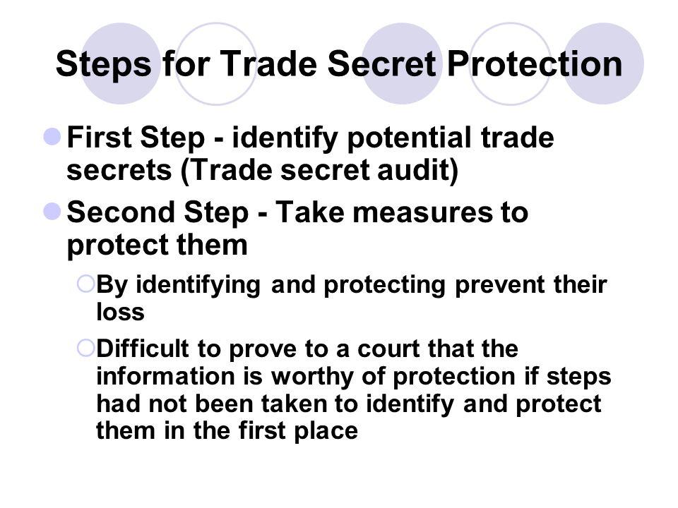 Steps for Trade Secret Protection