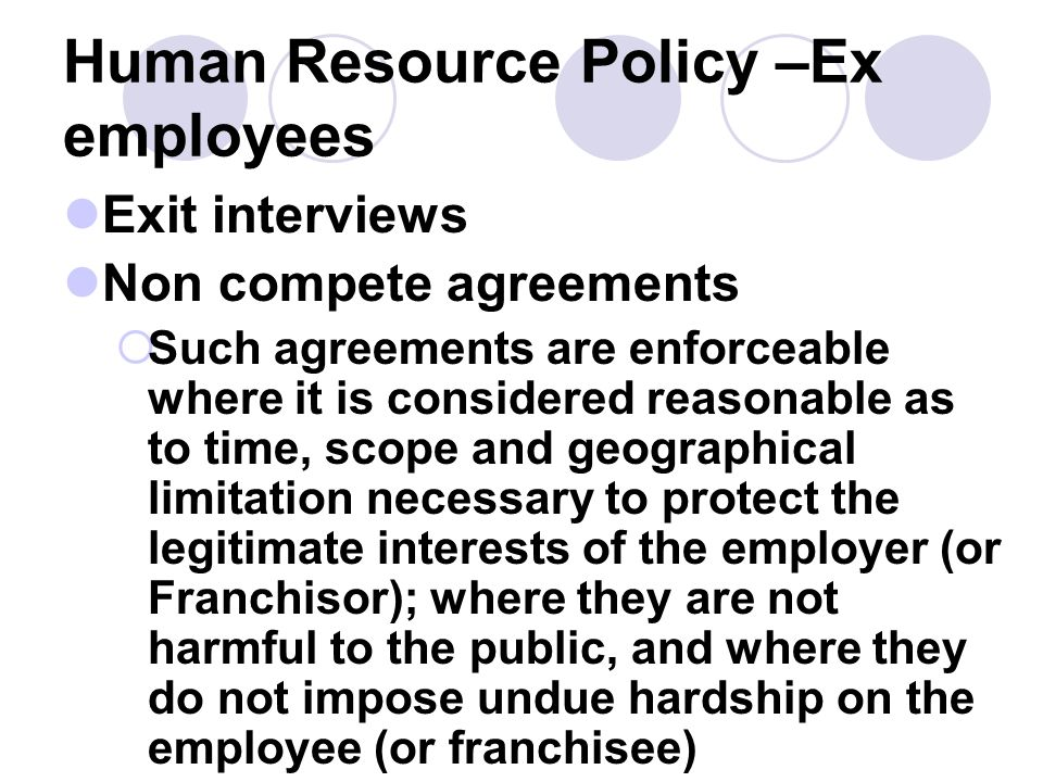 Human Resource Policy –Ex employees
