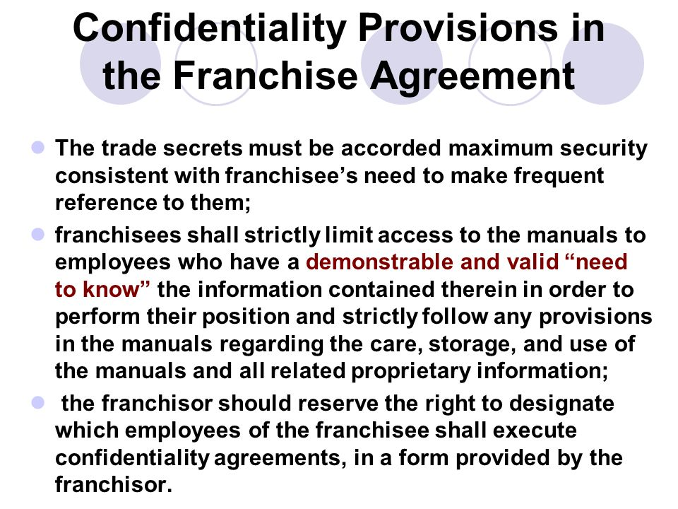Managing Trade Secrets In A Franchising Arrangement  Ppt Download