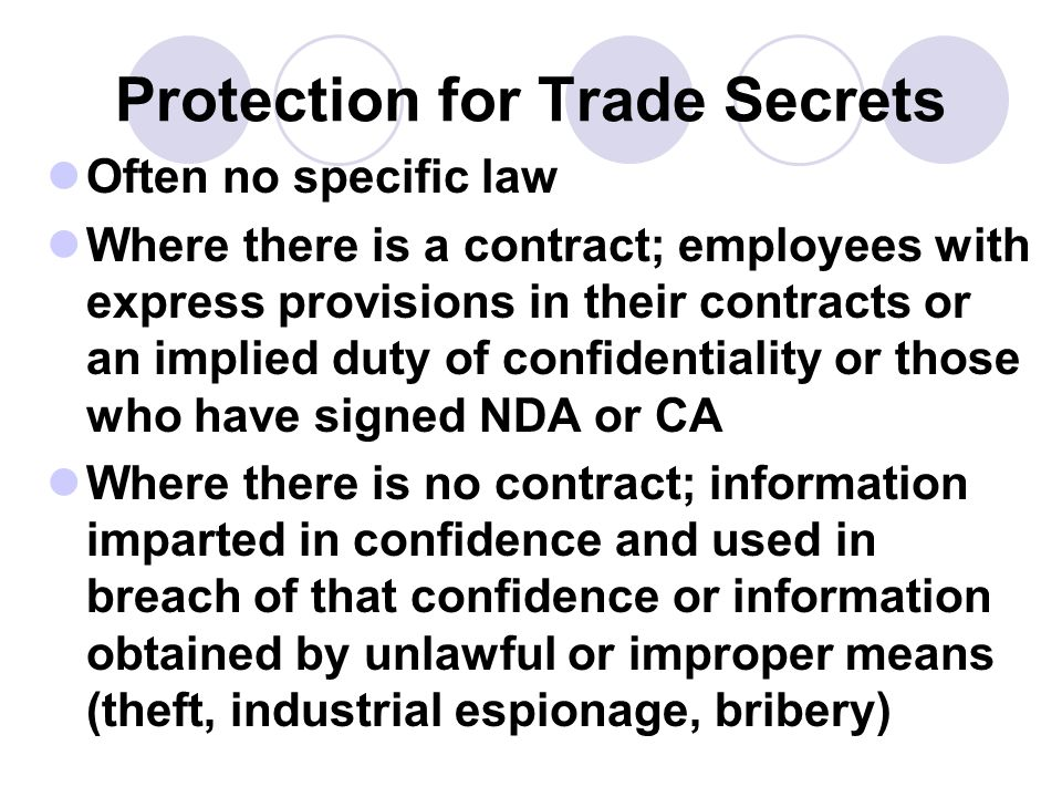 Protection for Trade Secrets