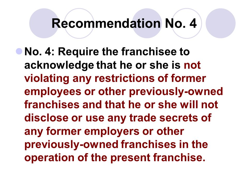 Recommendation No. 4