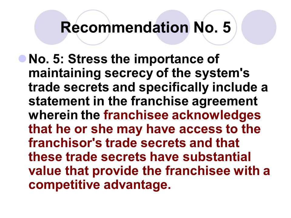 Recommendation No. 5