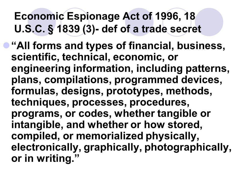 Economic Espionage Act of 1996, 18 U. S. C