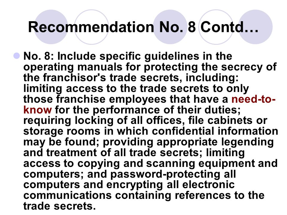 Recommendation No. 8 Contd…