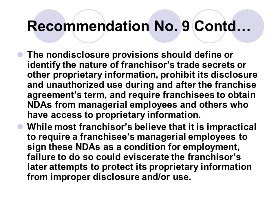 Recommendation No. 9 Contd…