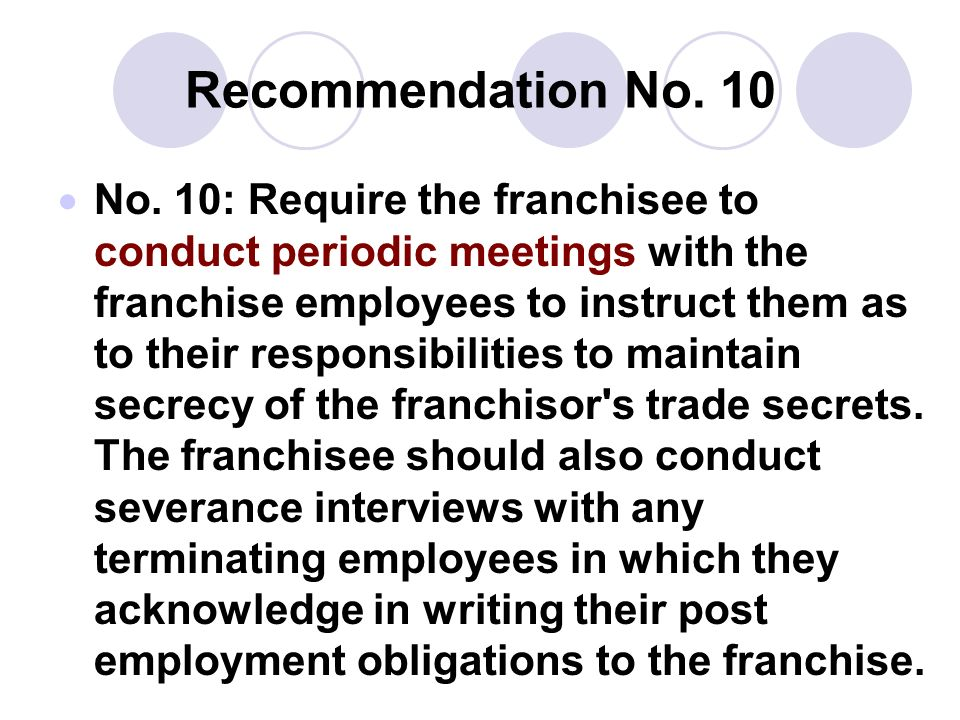 Recommendation No. 10