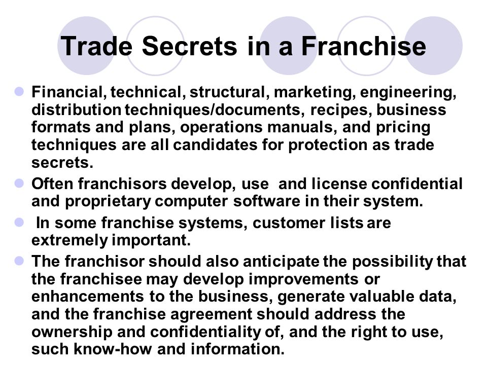 Trade Secrets in a Franchise