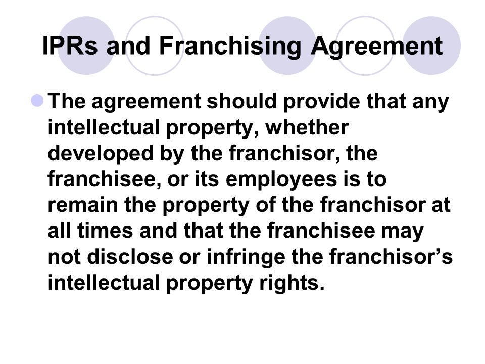 IPRs and Franchising Agreement