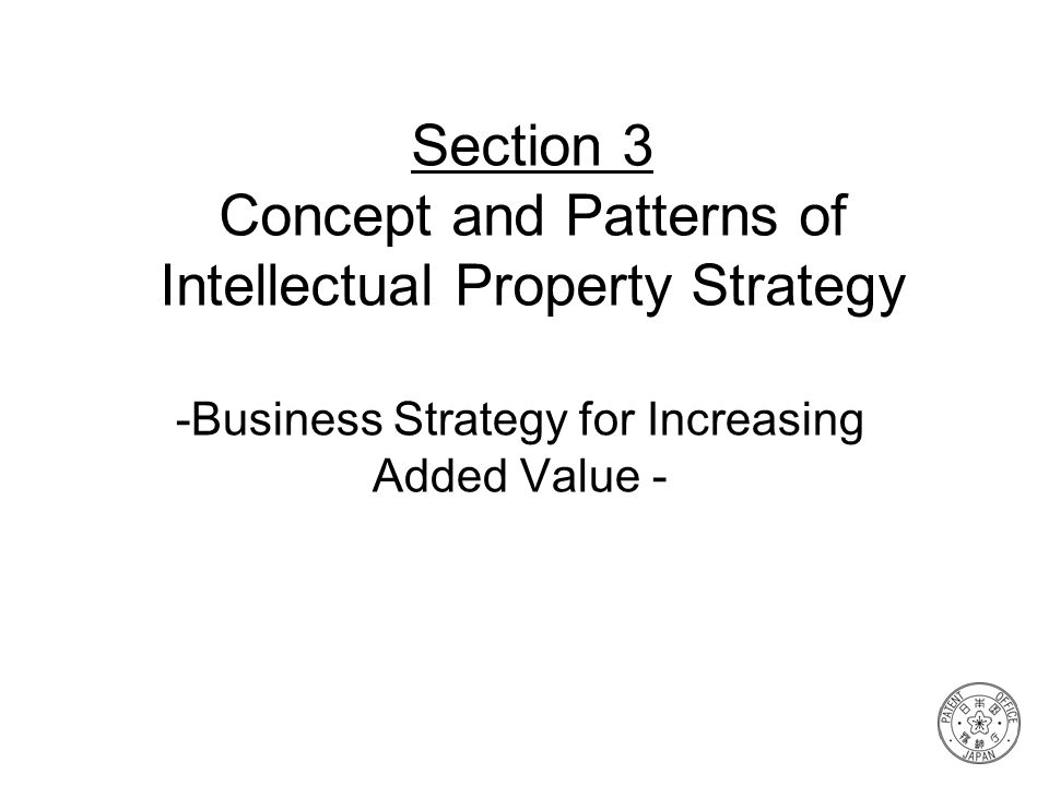 Section 3 Concept and Patterns of Intellectual Property Strategy