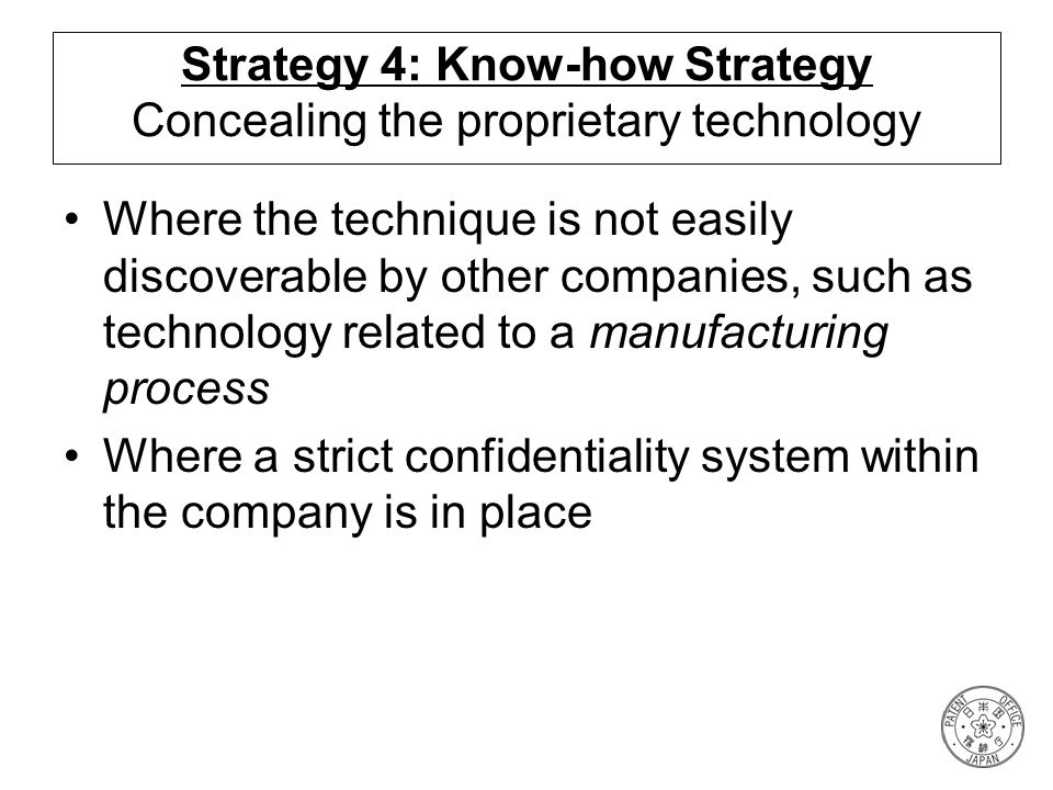Strategy 4: Know-how Strategy Concealing the proprietary technology