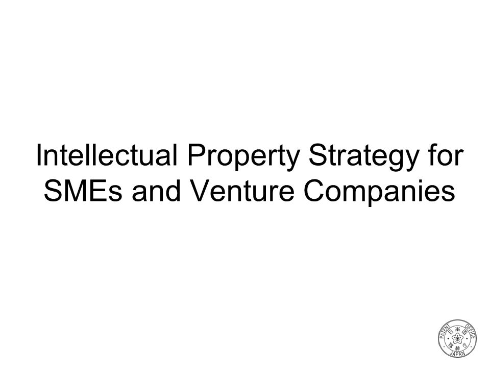 Intellectual Property Strategy for SMEs and Venture Companies