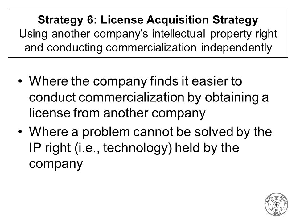 Strategy 6: License Acquisition Strategy Using another company's intellectual property right and conducting commercialization independently