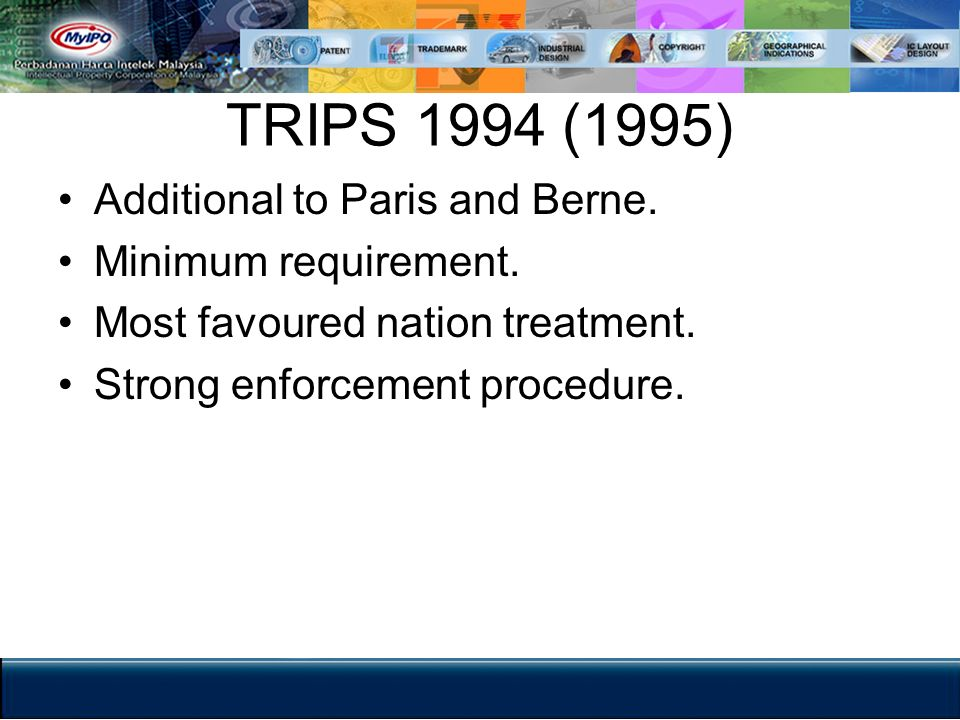 TRIPS 1994 (1995) Additional to Paris and Berne. Minimum requirement.
