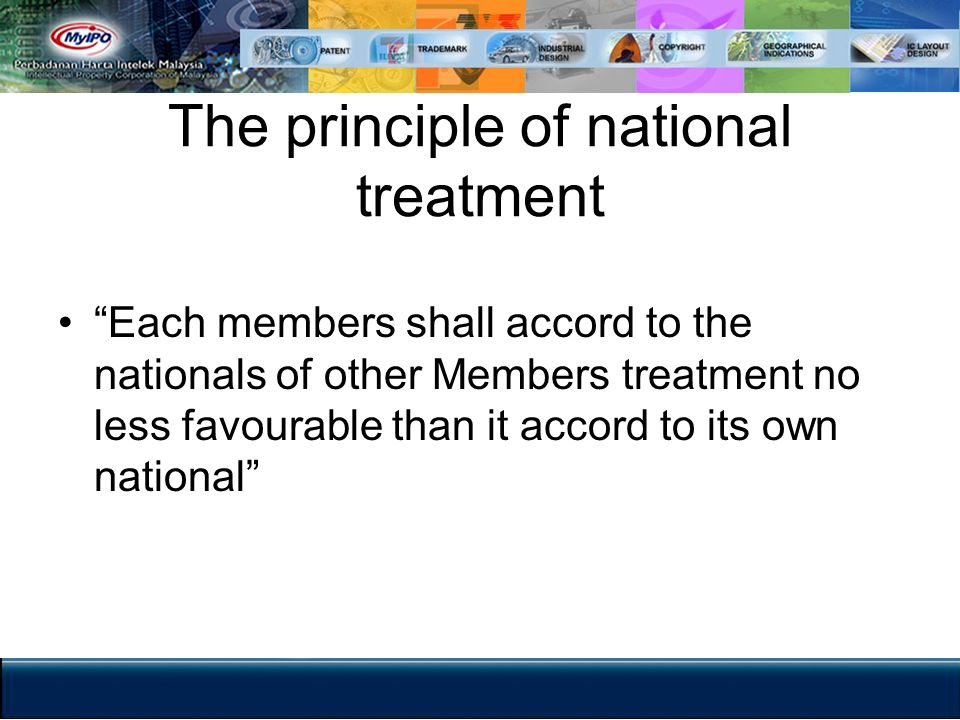 The principle of national treatment