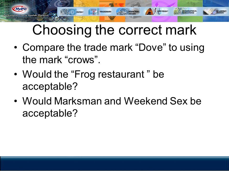 Choosing the correct mark