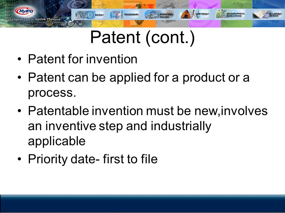 Patent (cont.) Patent for invention