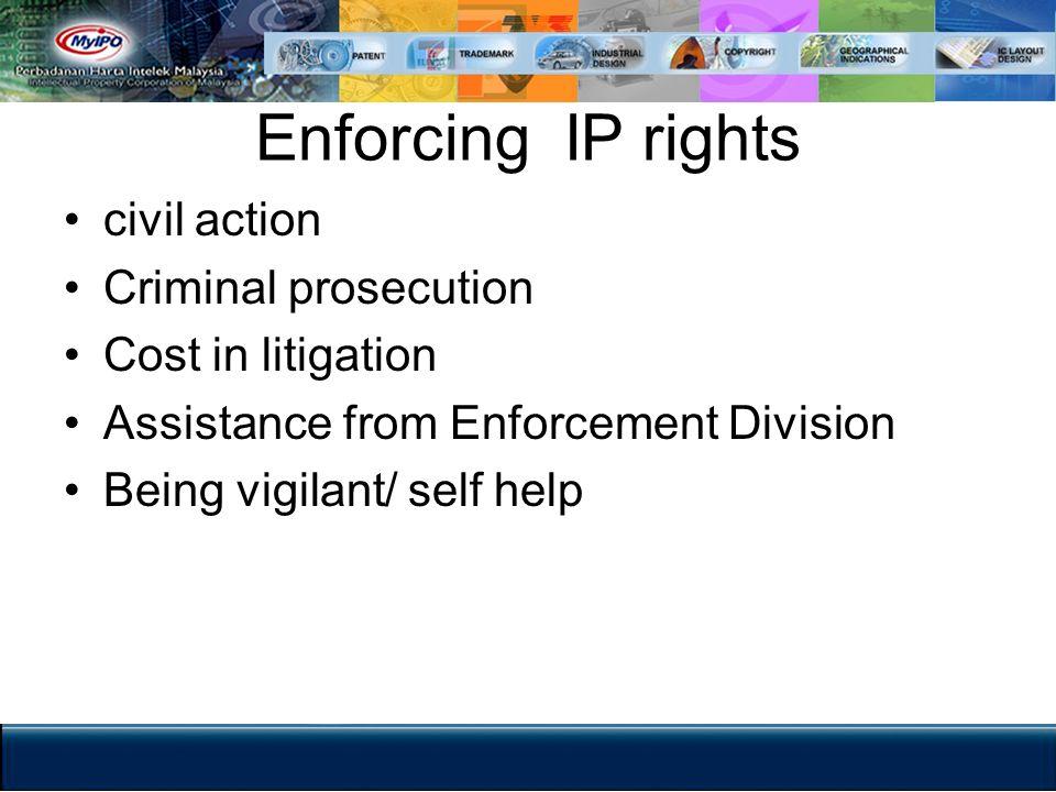 Enforcing IP rights civil action Criminal prosecution