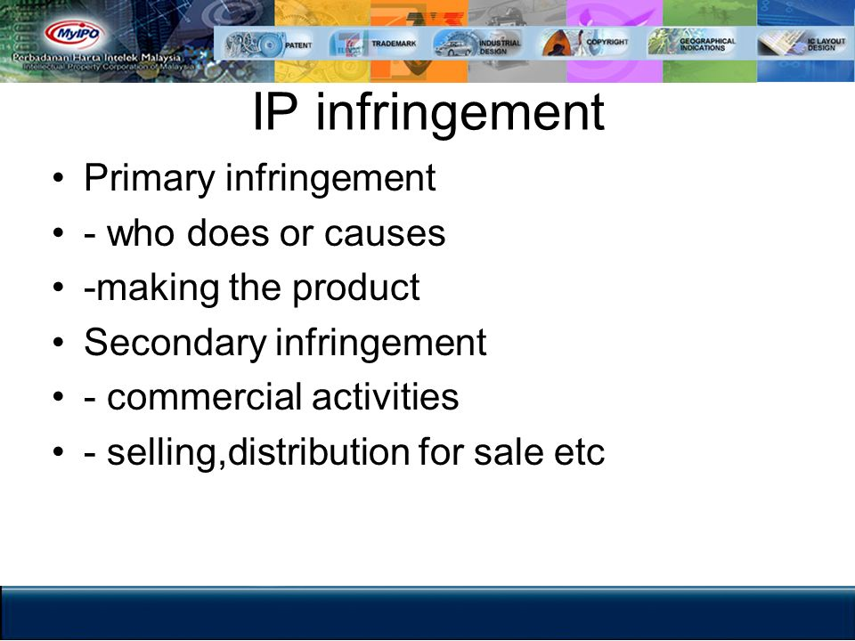 IP infringement Primary infringement - who does or causes
