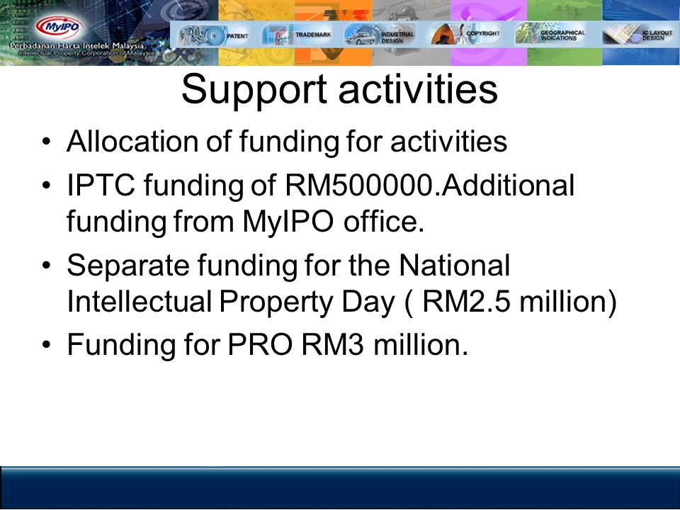 Support activities Allocation of funding for activities