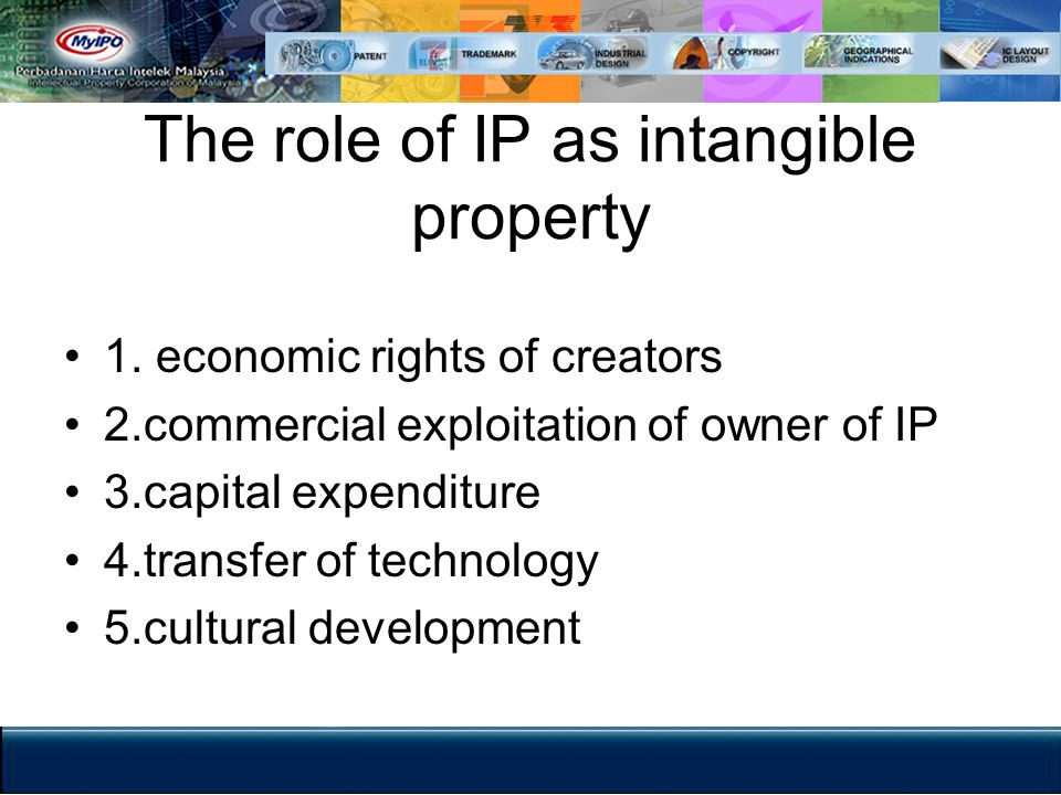 The role of IP as intangible property