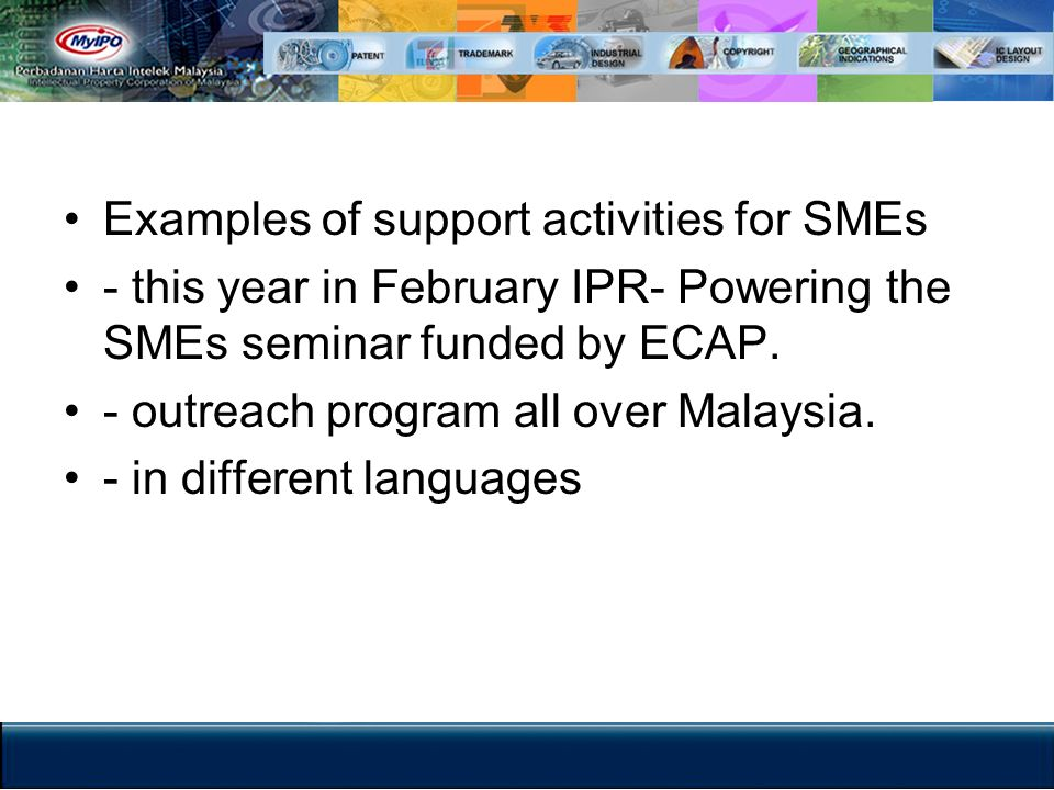 Examples of support activities for SMEs
