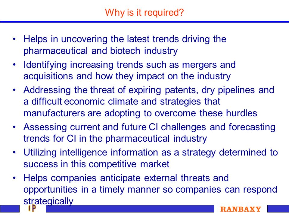Why is it required Helps in uncovering the latest trends driving the pharmaceutical and biotech industry.