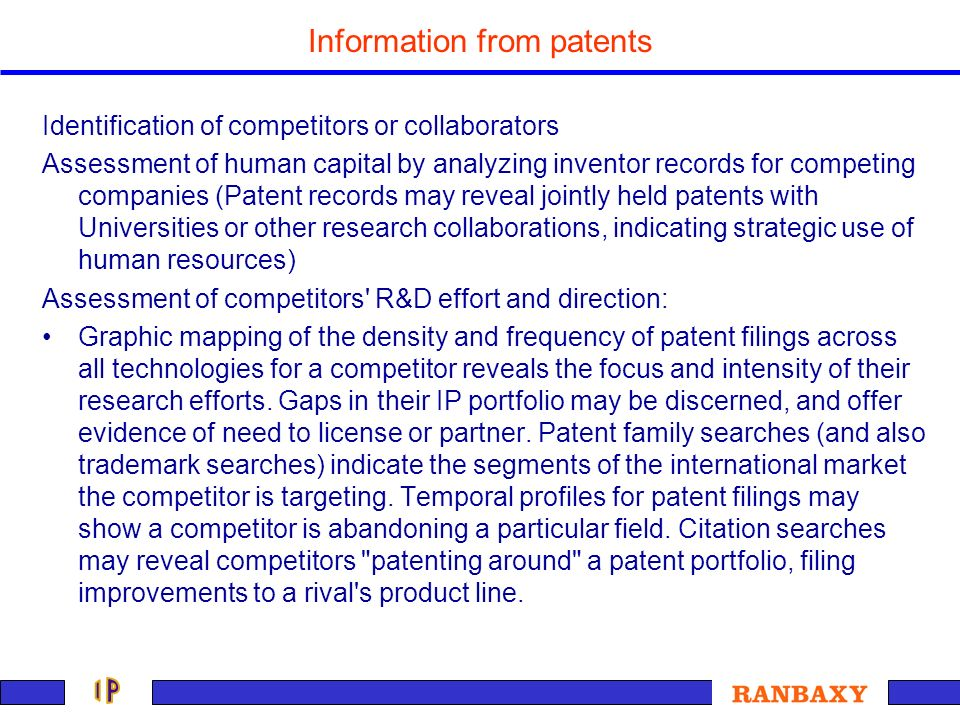 Information from patents