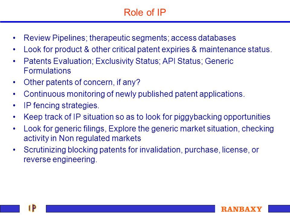 Role of IP Review Pipelines; therapeutic segments; access databases