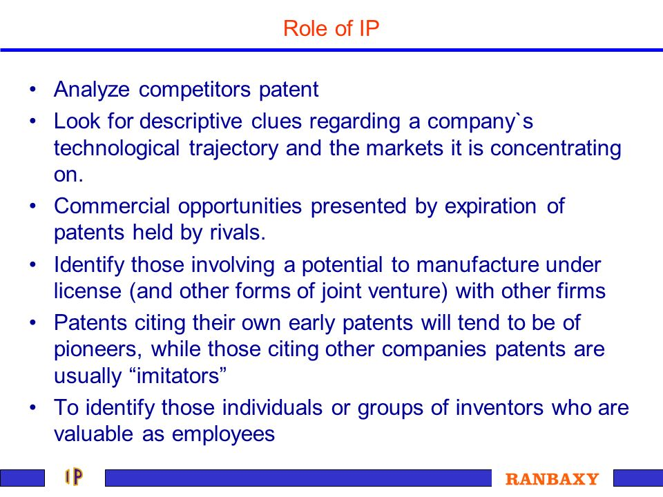Role of IP Analyze competitors patent.
