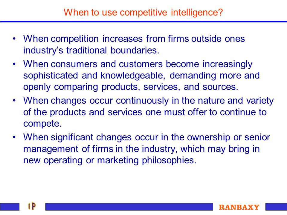 When to use competitive intelligence