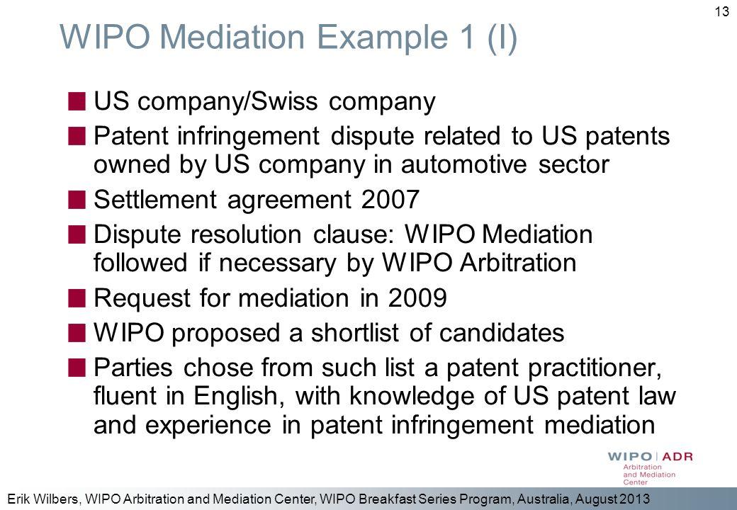 WIPO Mediation Example 1 (I)