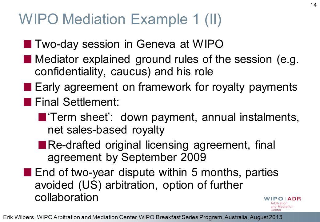 WIPO Mediation Example 1 (II)
