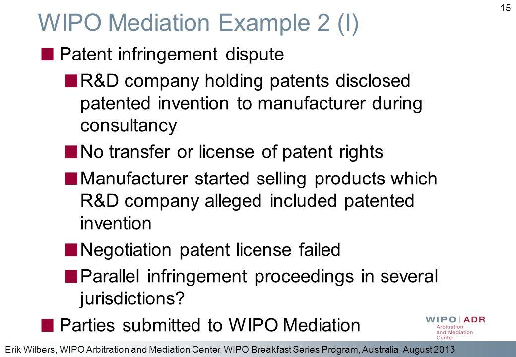 WIPO Mediation Example 2 (I)