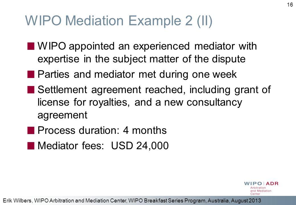 WIPO Mediation Example 2 (II)
