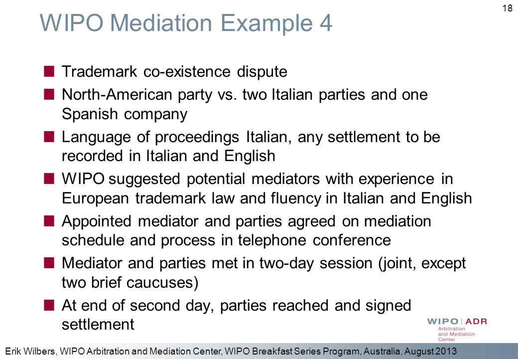 WIPO Mediation Example 4