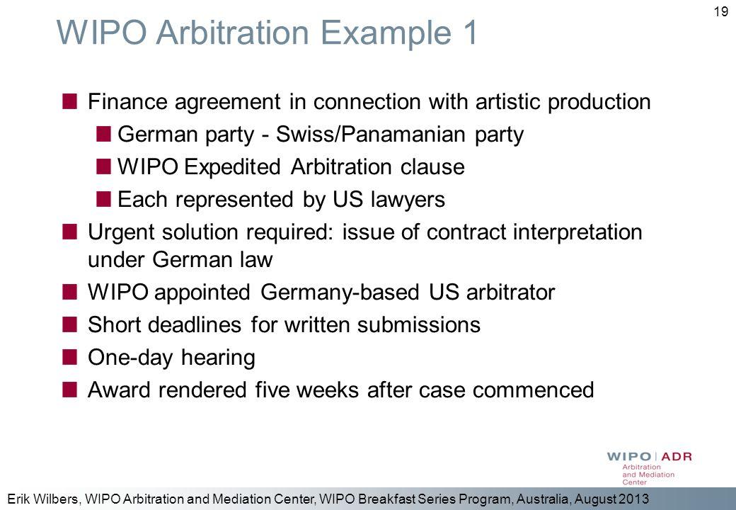 WIPO Arbitration Example 1