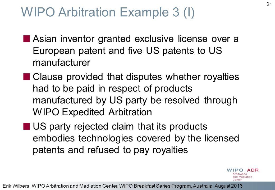 WIPO Arbitration Example 3 (I)