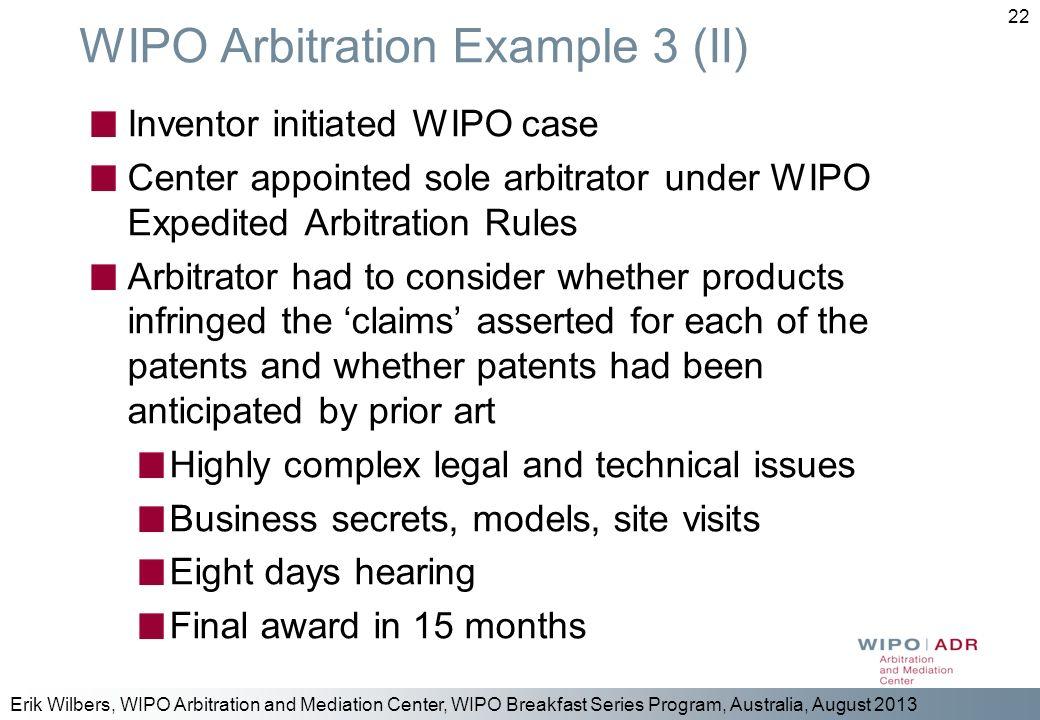 WIPO Arbitration Example 3 (II)