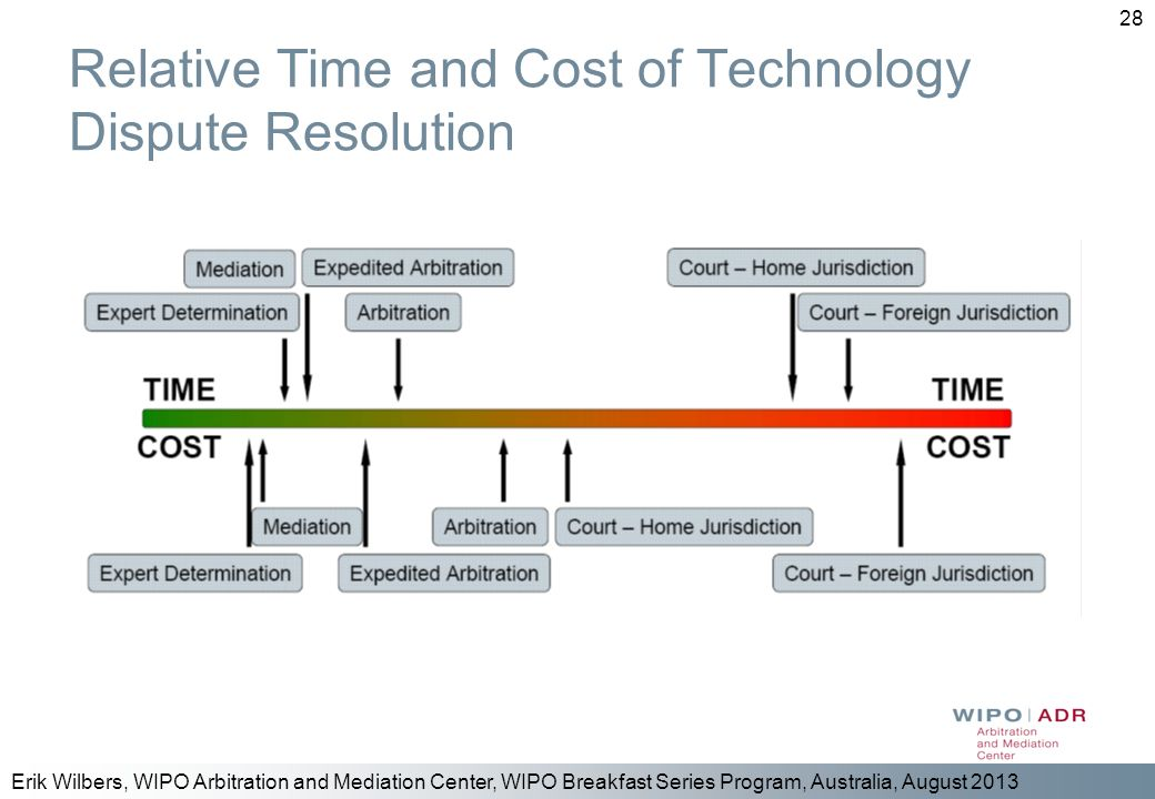 Relative Time and Cost of Technology Dispute Resolution