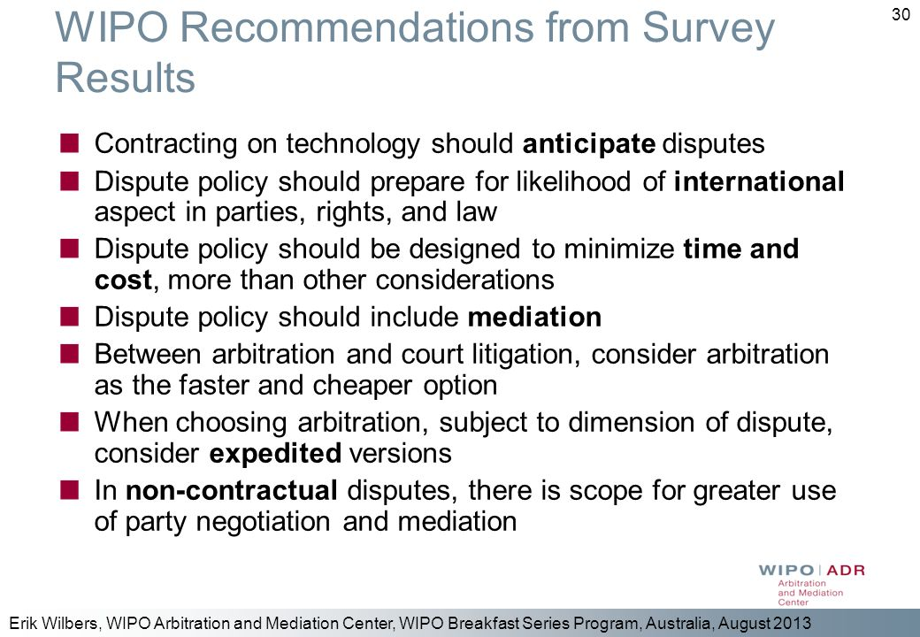 WIPO Recommendations from Survey Results