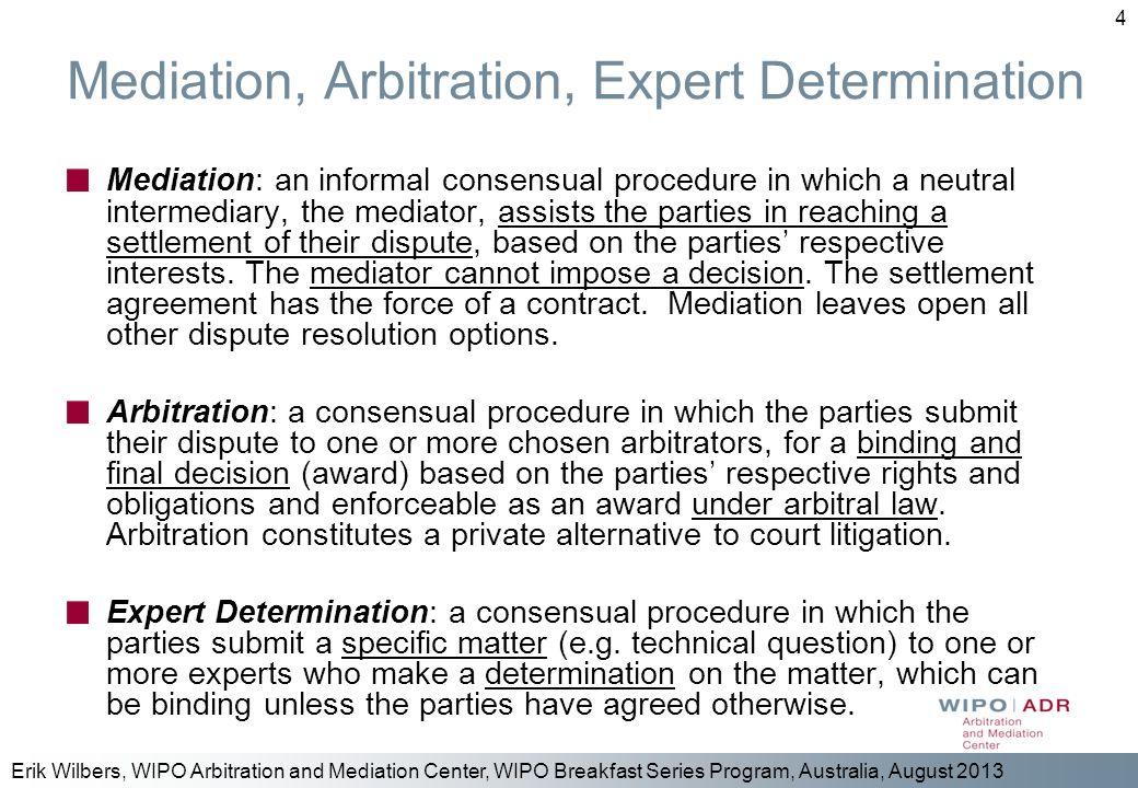 Mediation, Arbitration, Expert Determination