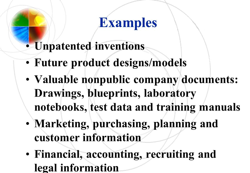 Examples Unpatented inventions Future product designs/models