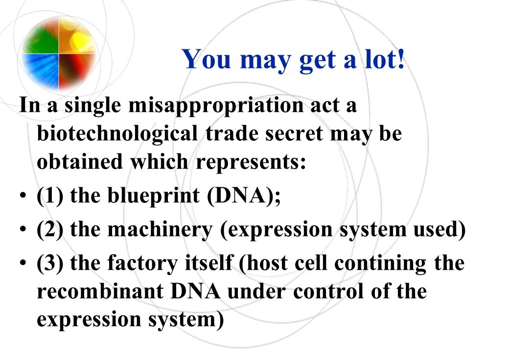 You may get a lot! In a single misappropriation act a biotechnological trade secret may be obtained which represents: