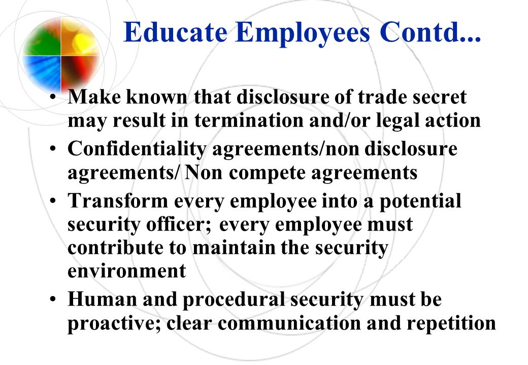 Educate Employees Contd...