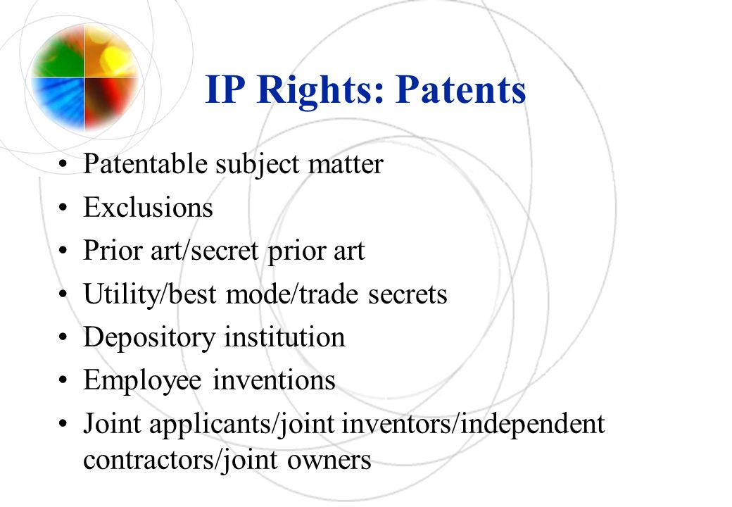 IP Rights: Patents Patentable subject matter Exclusions